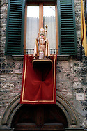 Gubbio 15 MAY 2004..Festival of the Ceri..The statue of St Ubaldo ....http://www.ceri.it/ceri_eng/index.htm..