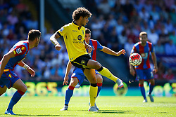Rudy Gestede of Aston Villa passes the ball back showing great control - Mandatory byline: Jason Brown/JMP - 07966386802 - 22/08/2015 - FOOTBALL - London - Selhurst Park - Crystal Palace v Aston Villa - Barclays Premier League