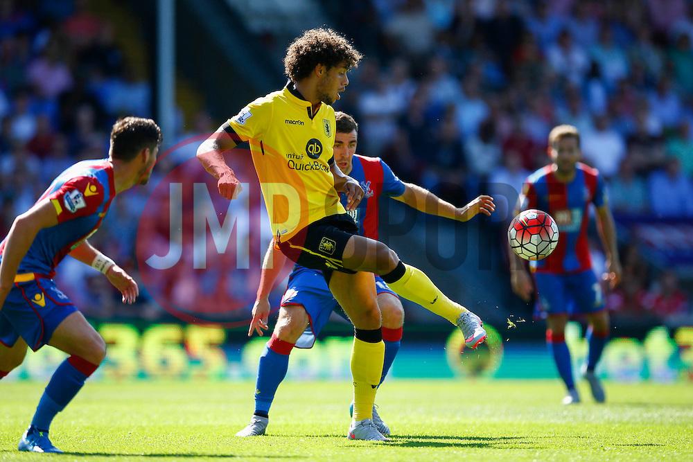 Rudy Gestede of Aston Villa passes the ball back showing great control - Mandatory byline: Jason Brown/JMP - 07966386802 - 22/08/2015 - FOOTBALL - London - Selhurst Park - Crystal Palace v Aston Villa - Barclays Premier League