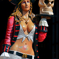 Pirate Girl Holding Skull in Cabo San Lucas, Mexico<br />