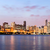 Chicago at night panorama of downtown city skyline buildings