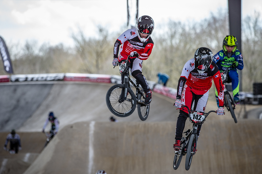 #142 (KUZMA Alexis) FRA at Round 2 of the 2018 UCI BMX Superscross World Cup in Saint-Quentin-En-Yvelines, France.