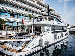 September 24, 2016 - Monaco, Monaco - Boatbuilder Dynamiq prepares 38m superyacht 'Jetsetter' for the 26th Monaco Yacht Show with some 125 of the most desirable superyachts from around the world on display between 28 September and 1 October. The Monaco Yacht Show is held in Port Hercules, and is Europe's biggest in-water display of superyachts. (Credit Image: © Hugh Peterswald/Pacific Press via ZUMA Wire)