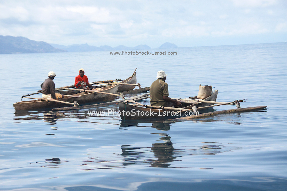 Madagascar, fishing dugout canoes