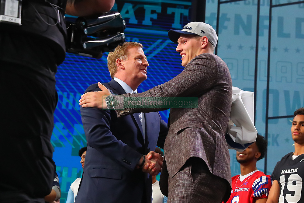 April 26, 2018 - Arlington, TX, U.S. - ARLINGTON, TX - APRIL 26: Leighton Vander Esch shakes hands with NFL Commissioner Roger Goodell after being chosen by the Dallas Cowboys with the 19th pick during the first round at the 2018 NFL Draft at AT&T Statium on April 26, 2018 at AT&T Stadium in Arlington Texas.  (Photo by Rich Graessle/Icon Sportswire) (Credit Image: © Rich Graessle/Icon SMI via ZUMA Press)
