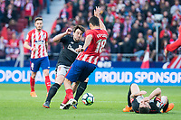 Atletico de Madrid Diego Costa and Athletic Club Benat Etxebarria during La Liga match between Atletico de Madrid and Athletic Club and Wanda Metropolitano in Madrid , Spain. February 18, 2018. (ALTERPHOTOS/Borja B.Hojas)