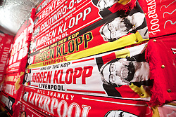 LIVERPOOL, ENGLAND - Thursday, November 26, 2015: A trader selling Jürgen Klopp scarves outside Anfield ahead of the UEFA Europa League Group Stage Group B match between Liverpool and FC Girondins de Bordeaux. (Pic by David Rawcliffe/Propaganda)