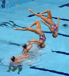 File photo dated 09-08-2012 of Great Britain's Synchronised Swimming Team, Yvette Baker, Katie Clark, Katie dawkins, Olivia Federici. Jennifer Knobbs, Asha Randall, Jenna Randall and Katie Skelton in action during the team technical routine at the Aquatics centre, London.