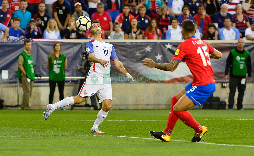 September 1, 2017 - Harrison, NJ, USA - Harrison, N.J. - Friday September 01, 2017:  Christian Pulisic during a 2017 FIFA World Cup Qualifying (WCQ) round match between the men's national teams of the United States (USA) and Costa Rica (CRC) at Red Bull Arena. (Credit Image: © Howard Smith/ISIPhotos via ZUMA Wire)