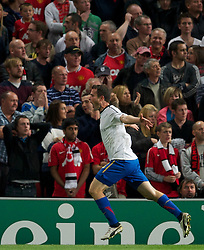 27.09.2011, Old Trafford, London, ENG, UEFA CL, Gruppe C, Manchester United (ENG) vs FC Basel (SUI), im Bild FC Basel 1893's Alexander Frei celebrates scoring the equalising 2-2 goal against Manchester United // during the UEFA Champions League game, group C, Manchester United (ENG) vs FC Basel (SUI) at Old Trafford stadium in London, United Kingdom on 2011/09/27. EXPA Pictures © 2011, PhotoCredit: EXPA/ Propaganda Photo/ David Rawcliff +++++ ATTENTION - OUT OF ENGLAND/GBR+++++