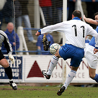 Queen of the South v St Johnstone.....15.04.06<br />Stuart Lovell can't prevent Paul Sheerin from scoring<br /><br />Picture by Graeme Hart.<br />Copyright Perthshire Picture Agency<br />Tel: 01738 623350  Mobile: 07990 594431