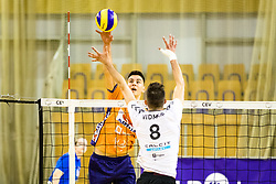 Petar Dirlic of ACH Volley vs Primoz Vidmar of Calcit Volley during 3rd Leg volleyball match between ACH Volley and OK Calcit Volley in Final of 1. DOL Slovenian National Championship 2017/18, on April 24, 2018 in Hala Tivoli, Ljubljana, Slovenia. Photo by Matic Klansek Velej / Sportida