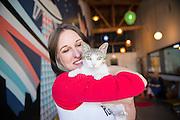 Kristen Castillo, co-owner of Purringtons Cat Lounge in Portland, OR