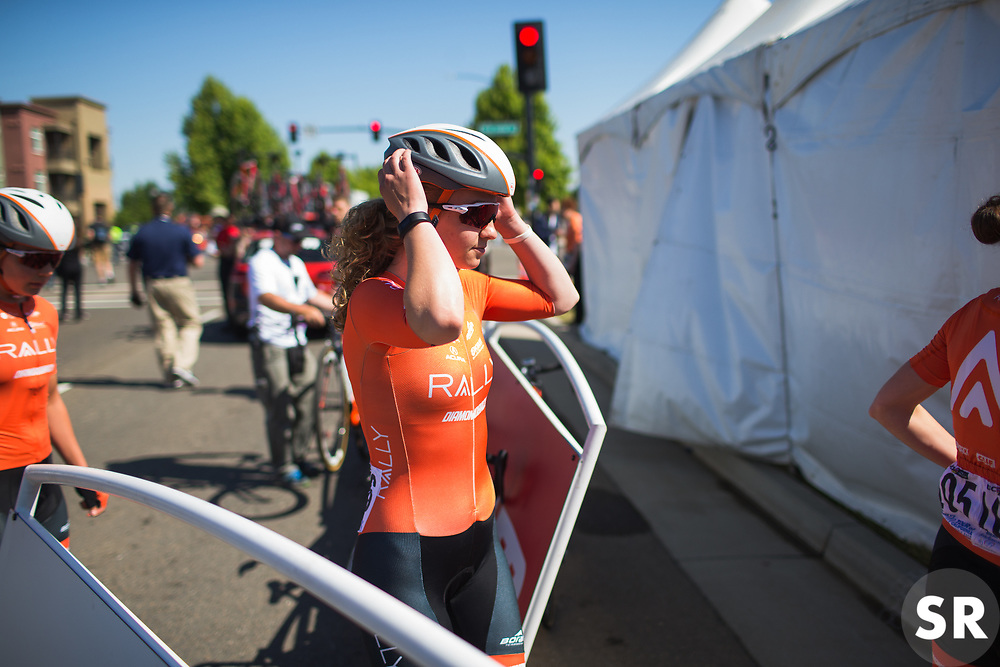 Emma White (USA) of Rally Cycling walks to the sign-on podium before Stage 1 of the Amgen Tour of California - a 124 km road race, starting and finishing in Elk Grove on May 17, 2018, in California, United States. (Photo by Balint Hamvas/Velofocus.com)