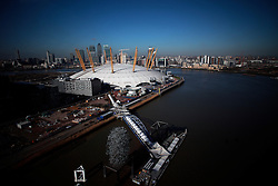 UK ENGLAND LONDON 27FEB15 - View of the Millenium Dome and the Docklands across the river Thames, London. The dome, now part of The O2, is the largest of its type in the world.<br /> <br /> <br /> <br /> jre/Photo by Jiri Rezac<br /> <br /> <br /> <br /> &copy; Jiri Rezac 2015