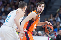 Real Madrid Jaycee Carroll and Valencia Basket Guillem Vives during Turkish Airlines Euroleague match between Real Madrid and Valencia Basket at Wizink Center in Madrid, Spain. December 19, 2017. (ALTERPHOTOS/Borja B.Hojas)