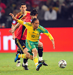 Steven Pienaar  during the soccer match of the 2009 Confederations Cup between Spain and South Africa played at the Freestate Stadium,Bloemfontein,South Africa on 20 June 2009.  Photo: Gerhard Steenkamp/Superimage Media.