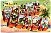 """An iconic, so-called large-letter, """"Greetings from Miami Beach"""" postcard with a World War II spin -- there's a B-17 bomber at upper right, and two men in uniform at lower left.<br /> <br /> Military planes occuply the first letter M, while all the other letters feature traditional peacetime postcard fare: bathing beauties, palm trees silhouetted at sunset, a fishing boat, and so on.<br /> <br /> Starting in 1942, much of Miami Beach was made into a military training camp with the U.S. Army Air Corps commandeering some 188 hotels and 109 apartment houses as barracks, a golf course as a drill field, and a section of beach in Bal Harbour as a rifle range.<br /> <br /> Thousands of officers and enlisted men were trained in Miami Beach until the war ended in 1945."""