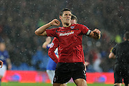 Cardiff city's Mark Hudson © celebrates after he scores his sides 2nd goal.  NPower championship, Cardiff city v Birmingham city at the Cardiff city Stadium in Cardiff, South Wales on Tuesday 2nd October 2012.   pic by  Andrew Orchard, Andrew Orchard sports photography,