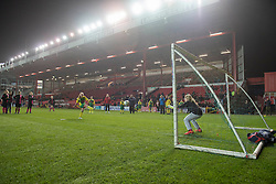 A Cheddar Grove player takes a penalty - Photo mandatory by-line: Dougie Allward/JMP - Mobile: 07966 386802 - 19/03/2015 - SPORT - Football - Bristol - Ashton Gate - Bristol Sport Schools Cup