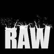 "image made in photoshop by Carole Jones combining 5 images to make the word ""Raw"" from photos of milk splashes. Graphic design and photograph of milk splashes"