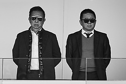 April 29, 2018 - Valencia, Valencia, Spain - (EDITORS NOTE: the image has been converted to black and white) Owner of Valencia CF Peter Lim (L) and Executive Director of Valencia CF Koh Kim Huat look on prior to the La Liga game between Valencia CF and SD Eibar at Mestalla on April 29, 2018 in Valencia, Spain  (Credit Image: © David Aliaga/NurPhoto via ZUMA Press)