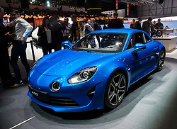 World Premiere of Alpine A110 car at Geneva International Motor Show 2017