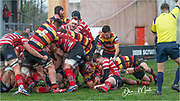 Carmarthen Quins' hooker Dom Booth scores his sides first try of the afternoon after a driving maul.<br /> <br /> Photographer: Dan Minto<br /> <br /> Indigo Welsh Premiership Rugby - Round 12 - Llandovery RFC v Carmarthen Quins RFC - Saturday 28th December 2019 - Church Bank, Llandovery, South Wales, UK.<br /> <br /> World Copyright © Dan Minto Photography<br /> <br /> mail@danmintophotography.com <br /> www.danmintophotography.com