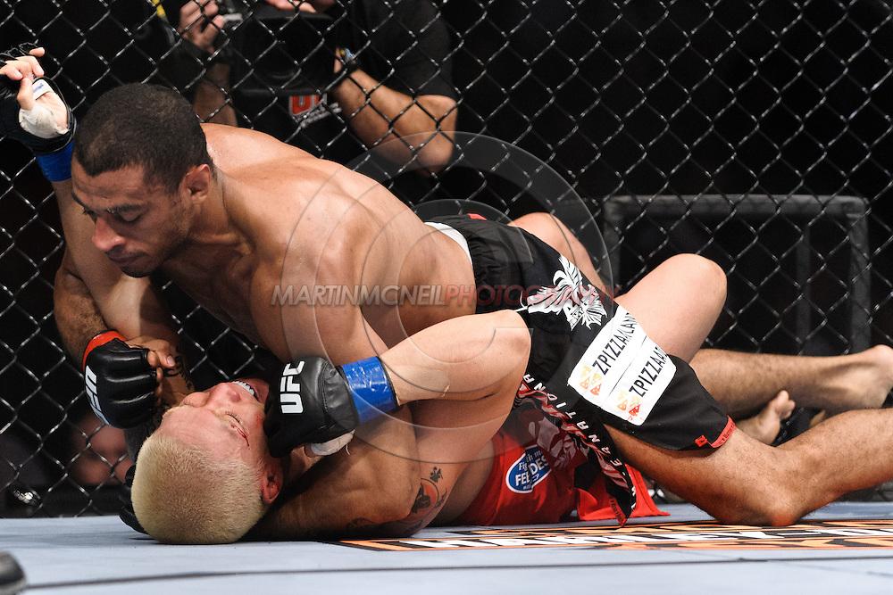 "ATLANTA, GEORGIA, SEPTEMBER 6, 2008: Roan Carneiro (top) keeps Ryo Chonan pinned down during ""UFC 88: Breakthrough"" inside Philips Arena in Atlanta, Georgia on September 6, 2008"