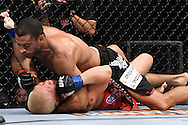 "ATLANTA, GEORGIA, SEPTEMBER 6, 2008: Roan Carneiro (top) keeps Ryo Chonan pinned down during ""UFC 88: Breakthrough"" inside Philips Arena in Atlanta, Georgia on September 6, 2008"
