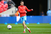 Coventry City defender Chris Stokes (3) warming up during the EFL Trophy Final match between Coventry City and Oxford United at Wembley Stadium, London, England on 2 April 2017. Photo by Simon Davies.