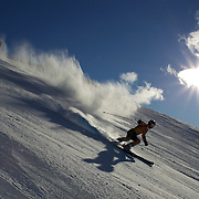 A skier in action during the Giant Slalom competition at Coronet Peak, New Zealand during the Winter Games. Queenstown, New Zealand, 23rd August 2011. Photo Tim Clayton