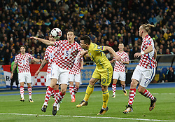 October 9, 2017 - Kiev, Ukraine - Yevhen Konoplyanka of Ukraine vies Croatiaa's defender Matej Mitrovic and Domagoj Vida during the FIFA 2018 World Cup Group I Qualifier between Ukraine and Croatia at Kiev Olympic Stadium on October 9, 2017 in Kiev, Ukraine. Ukraine fail to reach the play-offs as they lose 2-0. (Credit Image: © Sergii Kharchenko/NurPhoto via ZUMA Press)