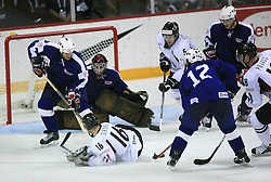Aleksejs Sirokovs (16), Dejan Varl of Slovenia and Goalkeeper of Slovenia Robert Kristan at ice-hockey match Slovenia vs Latvia at Preliminary Round (group B) of IIHF WC 2008 in Halifax, on May 06, 2008 in Metro Center, Halifax, Nova Scotia, Canada. Latvia won 3:0. (Photo by Vid Ponikvar / Sportal Images)Slovenia played in old replika jerseys from the year 1966, when Yugoslavia hosted the World Championship in Ljubljana.