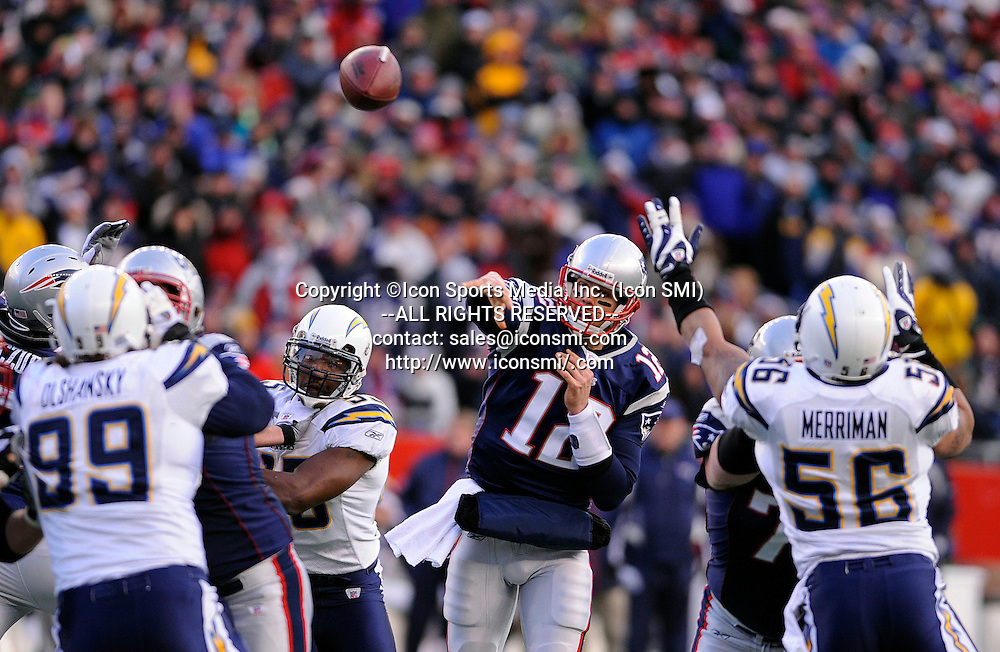 20 January 2008: New England Patriots quarterback Tom Brady passes against the San Diego Chargers during the AFC Championship game at Gillette Stadium in Foxborough, Massachusetts