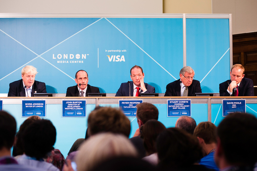 London, UK - 9 August 2012: Press Conference 'Delivering a lasting legacy from the London 2012 Games' at the London Media Centre with Mayor Boris Johnson, Daniel Moylan, Gavin Poole, John Burton, Stuart Corbyn and Peter Redfern, CEO of Taylor Wimpey.