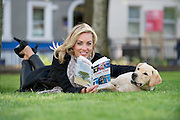 """Kathryn Thomas with max a Labrador pup at the launch of """"Time Out"""" , an Innovative collaboration of words, reflections and stories of goodness, tenderness and positivity for all our lives combine to great effect in this new publication 'Time Out' by Author Ronan Scully of Self Help Africa and Operation Transformation fame. The book is in aid of  Self Help Africa and The Irish Guide dogs for the Blind in the Hotel Meyrick , Eyre Square  Galway.  Picture:Andrew Downes"""