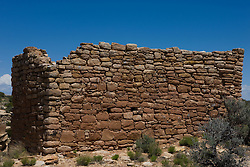 Rim Rock House ruins, Hovenweep National Monument, Colorado and Utah.Hovenweep National Monument protects six prehistoric, Puebloan-era villages spread over a twenty-mile expanse of mesa tops and canyons along the Utah-Colorado border. Multi-storied towers perched on canyon rims and balanced on boulders lead visitors to marvel at the skill and motivation of their builders..