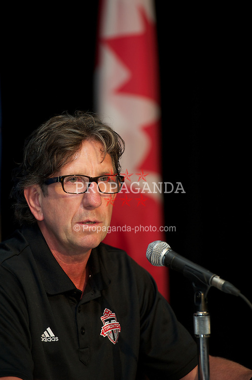 TORONTO, CANADA - Friday, July 20, 2012: Toronto FC's manager Paul Mariner during a press conference ahead of Liverpool's first match of their North American pre-season tour at the Rogers Centre. (Pic by David Rawcliffe/Propaganda)