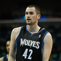February 7, 2011; New Orleans, LA, USA; Minnesota Timberwolves power forward Kevin Love (42) against the New Orleans Hornets during the third quarter at the New Orleans Arena. The Timberwolves defeated the Hornets 104-92.  Mandatory Credit: Derick E. Hingle