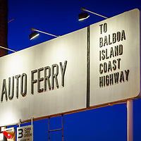 Newport Beach Auto Ferry sign at night photo. The auto ferry transports passengers between Balboa Peninsula and Balboa Island in Orange County Southern California. Photo is high resolution. Copyright ⓒ 2017 Paul Velgos with All Rights Reserved.