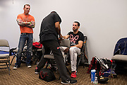 DALLAS, TX - MARCH 14:  Matt Brown has his hands wrapped backstage before his fight with Johny Hendricks during UFC 185 at the American Airlines Center on March 14, 2015 in Dallas, Texas. (Photo by Cooper Neill/Zuffa LLC/Zuffa LLC via Getty Images) *** Local Caption *** Matt Brown