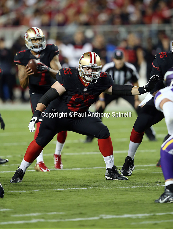 San Francisco 49ers offensive tackle Jordan Devey (65) pass blocks during the 2015 NFL week 1 regular season football game against the Minnesota Vikings on Monday, Sept. 14, 2015 in Santa Clara, Calif. The 49ers won the game 20-3. (©Paul Anthony Spinelli)
