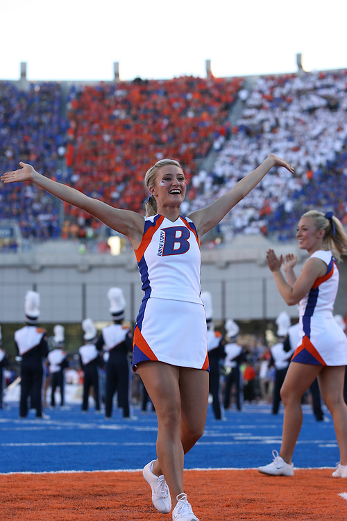 BOISE, ID - SEPTEMBER 25: A cheerleader of  Boise State cheers against the against the Oregon State at Bronco Stadium on September 25, 2010 in Boise, Idaho.   (Photo by Tom Hauck/Getty Images) *** Local Caption ***