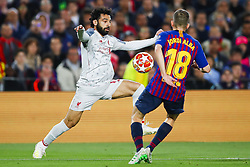 May 1, 2019 - Barcelona, Catalonia, Spain - May 1, 2019 - Barcelona, Spain - Uefa Champions League 1/2 of final second leg, FC Barcelona v Liverpool FC: Mohamed Salah of Liverpool FC challenges for the ball against Jordi Alba of FC Barcelona. (Credit Image: © Marc Dominguez/ZUMA Wire)