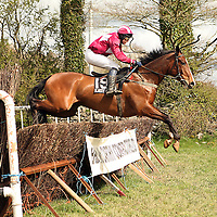 R.P Geoghegan on Inside the Wings in the second race at the first County Clare Hunt point to point in Cahergal, Newmarket-on-Fergus on Easter Sunday.<br /> Photograph by Yvonne Vaughan