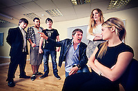 """Selected cast of the stage play play """"Stags & Hens' see here in rehearsal. Pictured LtoR Tim Bettridge, Kurt Tobin, Seb Pryboda, Andy Wilson, Madison Coupland, Emily Potter"""
