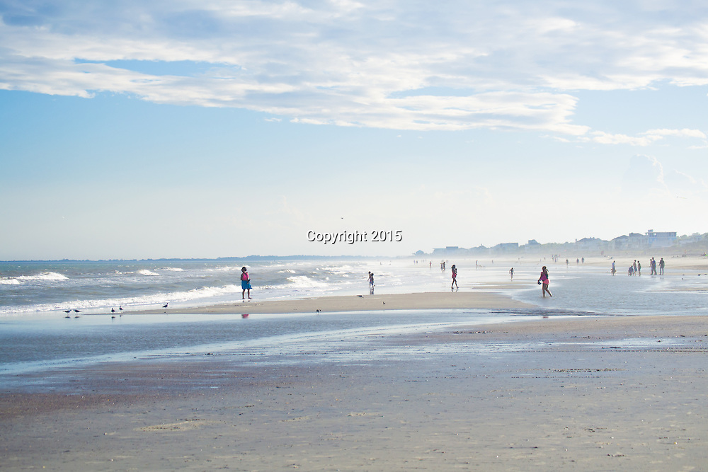 The Folly Beach, South Carolina shoreline during low tide