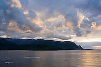 A dramatic sunset view overlooking Hanalei bay on the North shore of Kauai, Hawaii.