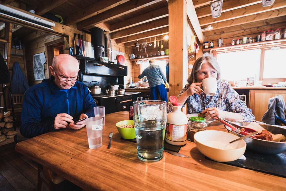 Breakfast scene at the Burnie Glacier Chalet with Hank Wissenz and Monika Loeschberger.